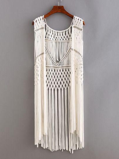 Beaded Macrame Fringe Open-Front Top - White.