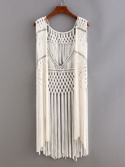 Shop Beaded Macrame Fringe Open-Front Top - White online. SheIn offers Beaded Macrame Fringe Open-Front Top - White & more to fit your fashionable needs.