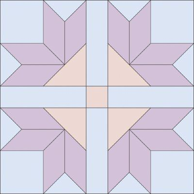 The Four Corner Flowers Quilt Block features a geometric flower design. Download the free quilt block for your next quilting project.