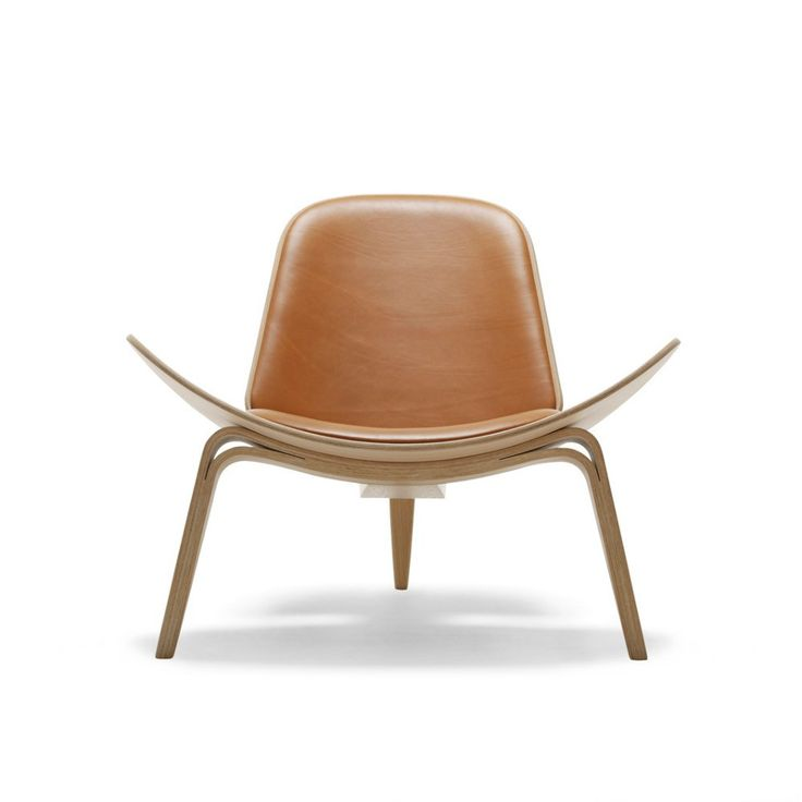 Hans Wegner Shell Chair Brown Leather