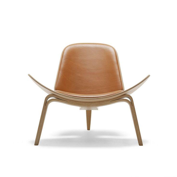 Hans Wegner Shell Chair Brown Leather