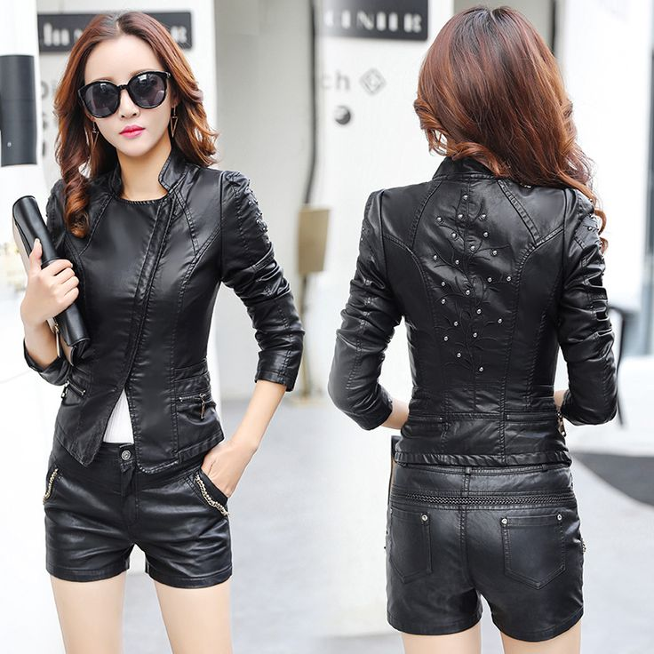 ==> [Free Shipping] Buy Best 2017 New Spring Women Faux Leather Jackets Fashion Women Coat Female Leather Jacket Zipper Rivet Washed PU Leather Jacket Brand Online with LOWEST Price | 32808726738