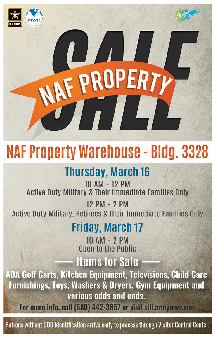 The NAF Property Sale will take place at the NAF Property Warehouse (Bldg. 3328) on Thursday, March 16 and Friday, March 17.  March 16: 10 am - 12 pm - Active Duty Military and their Immediate Family Members only; 12 - 2 pm - Active Duty Military, Retirees and their Immediate Family Members only  March 17: 10 am - 2 pm - Open to the Public.  Items for sale include ADA Golf Carts, Kitchen Equipment, Televisions, Child Care Furnishings, Toys, Washers & Dryers, Gym Equipment and various odds…