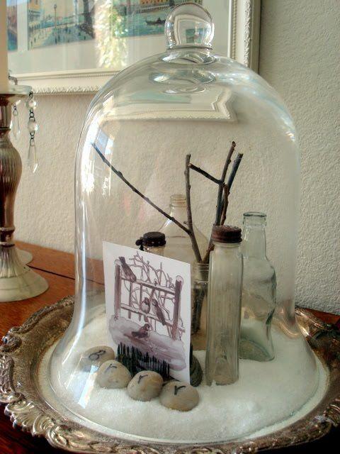 This a cute, wintery cloche idea.: Belle Jars, Cloche Idea, Starshin Chic, Cloche Party, The Rocks, Winter Cloche, Silver Trays, Silver Platters, Snow Scenes