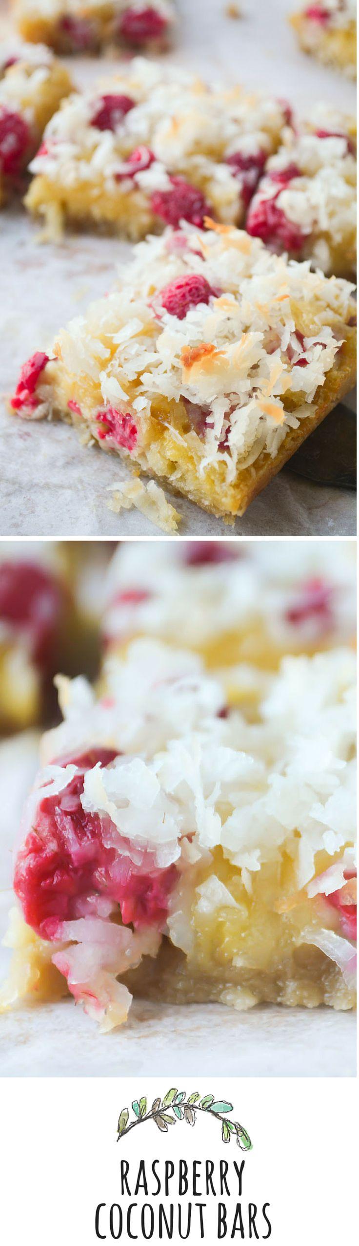 Soft and gooey macaroon bars meet fresh tart raspberries!
