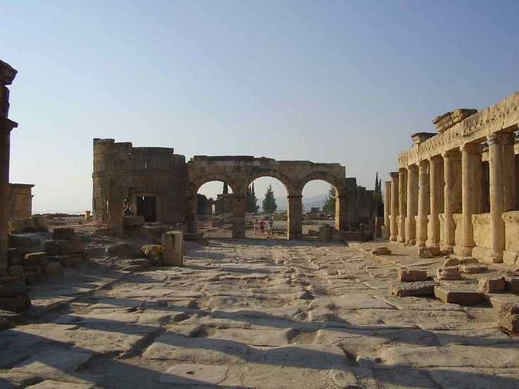 """Hierapolis """"Holy City"""" was an ancient city located on hot springs in classical Phrygia in southwestern Anatolia. Its ruins are adjacent to modern Pamukkale in Turkey and currently comprise an archaeological museum designated as a UNESCO World Heritage Site."""