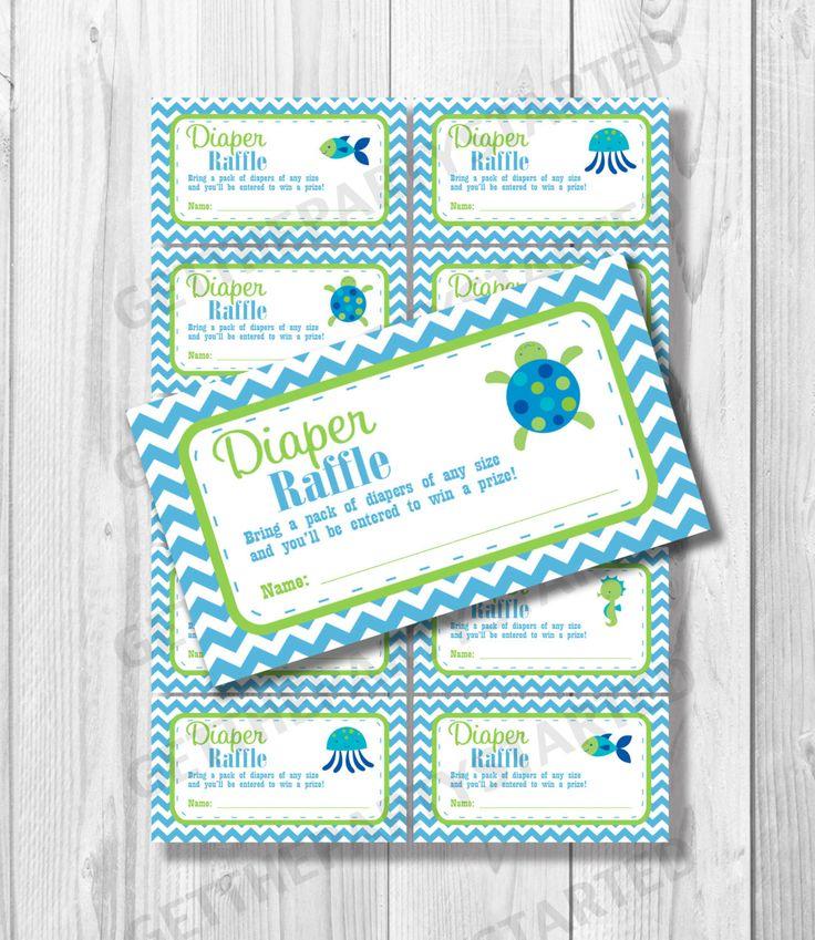 DIAPER RAFFLE TICKETS - Printable Baby Shower Raffle Ticket - Under the Sea Baby Shower - Instant Download - Ocean Shower Games - Sea Turtle