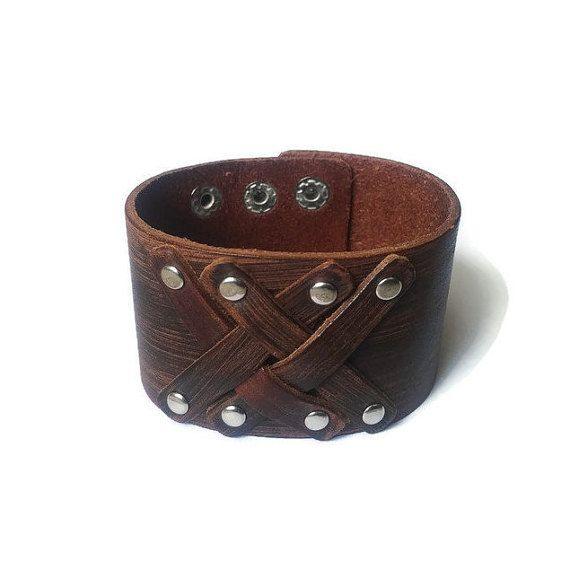 Brown Genuine Leather Cuff Mens Bracelet Womens by BriAndAshStore
