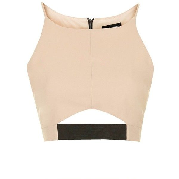 Topshop Cutout Crop Top found on Polyvore featuring tops, crop top, shirts, blusas, cut-out tops, beige shirt, cut out shirts, lined shirt and shirts & tops