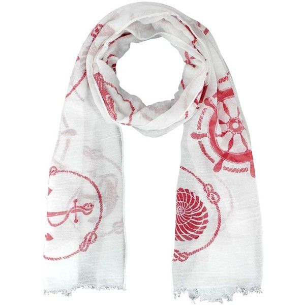 White & Red Nautical Icons Print Lightweight Oblong Scarf ($18) ❤ liked on Polyvore featuring accessories, scarves, lightweight, red, fringe shawl, nautical scarves, oblong scarves, print scarves and long scarves