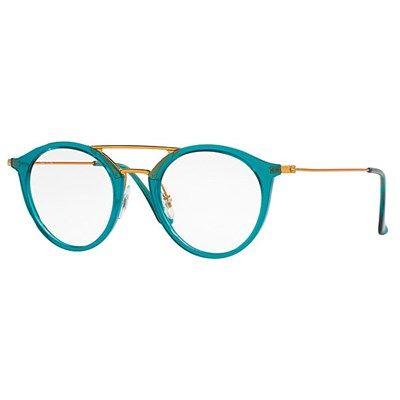 Óculos de Grau Ray Ban Round Turquoise Translúcido com Ponte em Metal Cobre - RX70975632