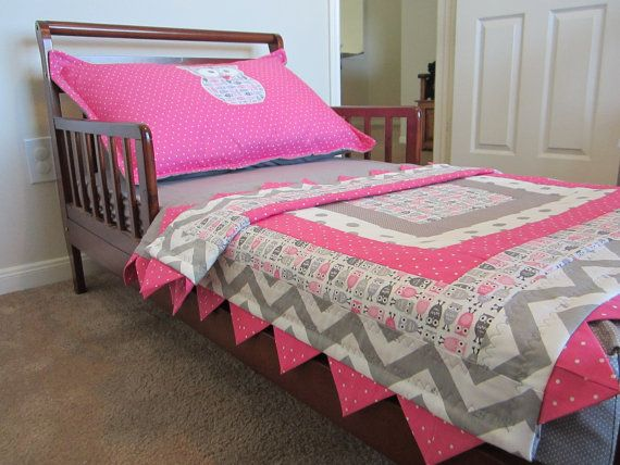 This Listing Is For A Handmade Gray And Pink Owl Crib Or Toddler Bed Quilt Matching Skirt Fitted Sheet Reversible Rail Guard Standard
