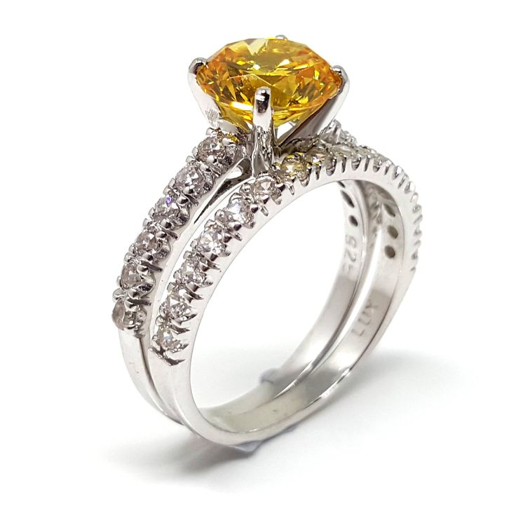 Canary Diamond Simulant Set in 925 Sterling Silver by Luxuria Jewellery, New Zealand
