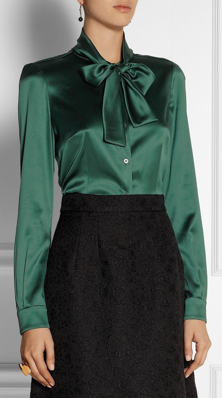 DOLCE & GABBANA Pussy-bow stretch-silk satin blouse