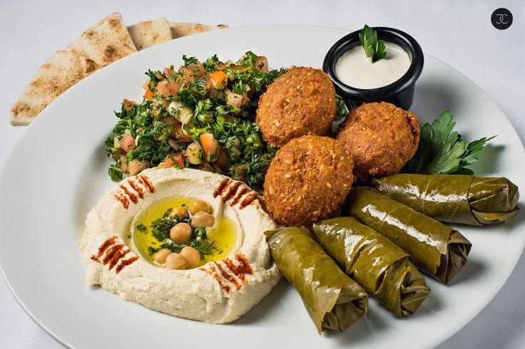 ~ Veggie Plate ~ Tabouli, Hummus,Grape Leaves, Falafel & Pita.