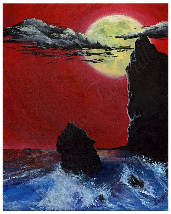 Red Sky at Night Giclee Print Full Moon Night by HeartWishezStudio
