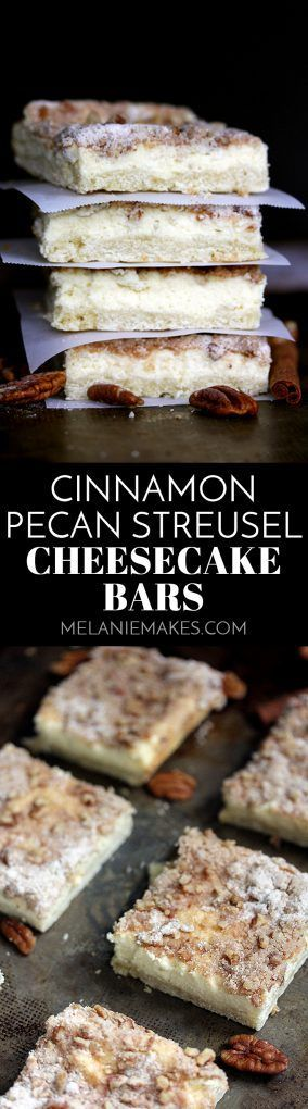 These Cinnamon Pecan Streusel Cheesecake Bars are like two desserts in one but with only 15 minutes of effort required.A creamy cheesecake filling is sandwiched between a sugar cookie base and a cinnamon pecan streusel for three layers of deliciousness.