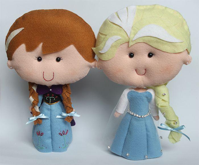 Elsa e Anna Frozen em feltro. Encomendas: www.elo7.com.br/ateliedosbichos