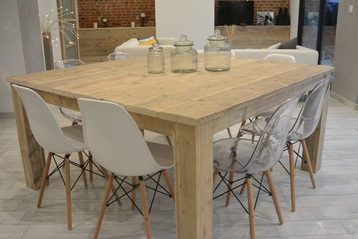 Table carr e pays bois 160 cm dream home pinterest for Table largeur 70 cm avec rallonge