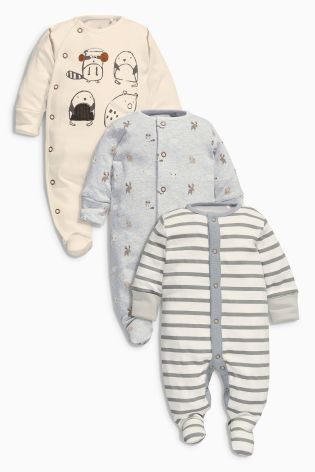 $30 - sz 6-9 Three Pack Oatmeal Animal Sleepsuit (0mths-2yrs) online today at Next: United States of America