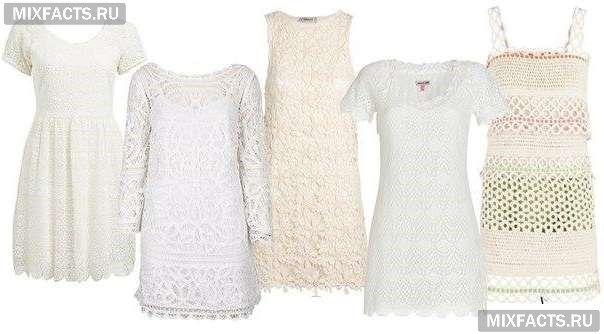 белые летние платья вязаные платья кроше фото