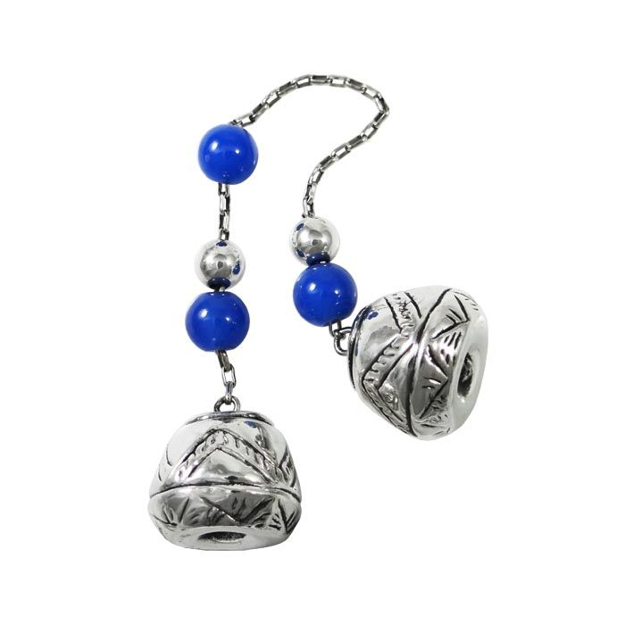 Begleri, decorated with lapis lazuli gemstones. The decorative edges are inspired by spindle whorls, found in Cuprus, dating to 1900 B.C.. Silver 999°. Dimensions: 20 cm