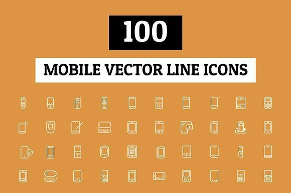 100 Mobile Vector Line Icons by Creative Stall on @creativemarket #mobilemarketingstall