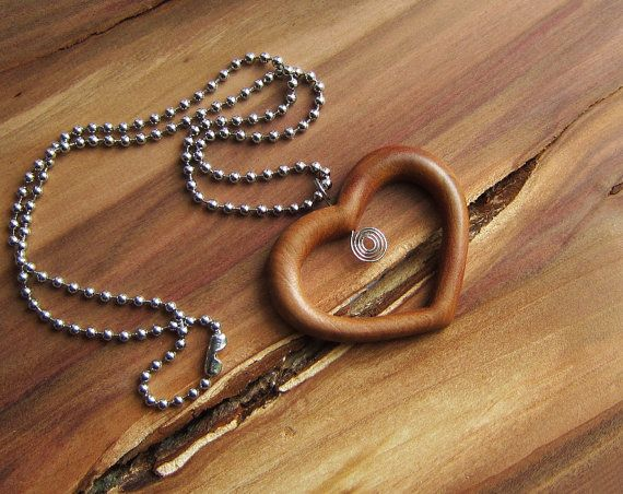 Wooden Heart Necklace love heart pendant by forEVAhairforks