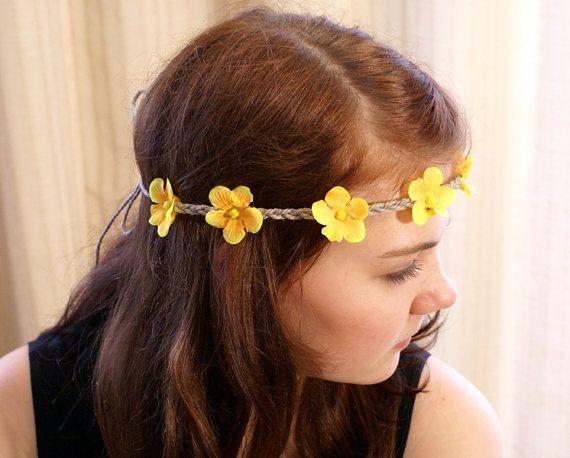 Yellow Flower Headband Hippie Headband Flower by DreamBlossoms, $12.95