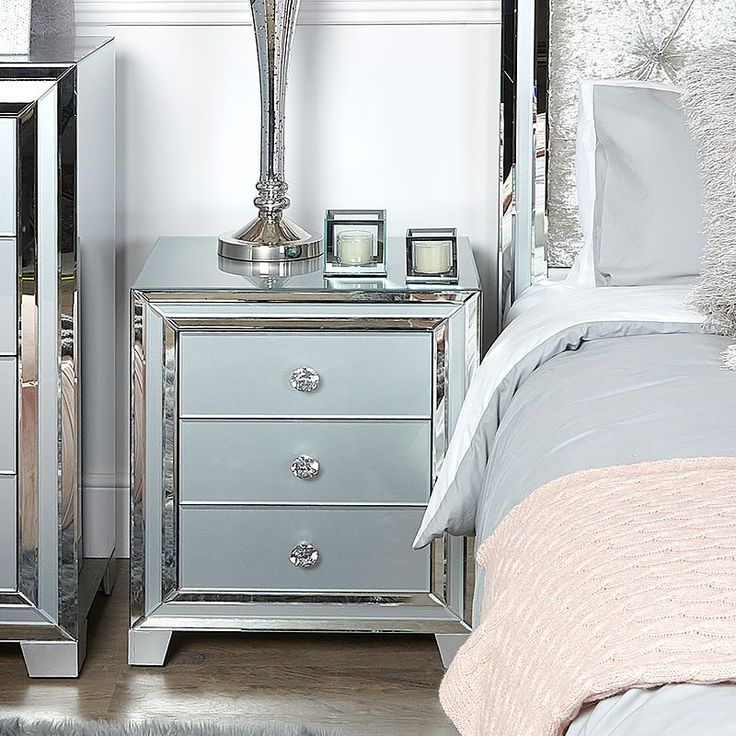 Best Madison Grey Glass 3 Drawer Mirrored Bedside Cabinet In 640 x 480