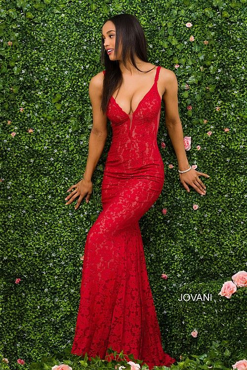 Red Fitted Lace Prom Dress 48994