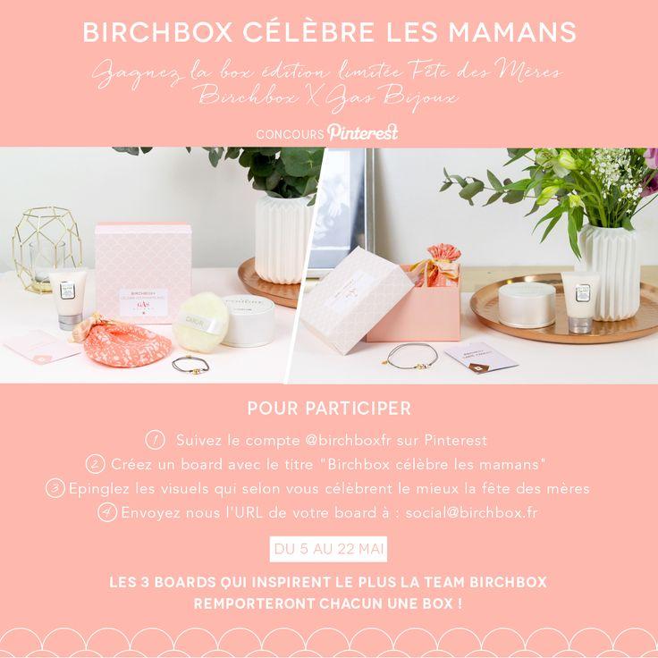 """Gagnez la box édition limitée Fête des Mères Birchbox X Gas Bijoux. Pour participer :   1) Suivez le compte @birchboxfr sur Pinterest  2) Créez un board avec le titre """"Birchbox célèbre les mamans""""  3) Epinglez les visuels qui selon vous célèbrent le mieux la fête des mères  4) Envoyez nous l'URL de votre board à : social@birchbox.fr    Date: du 5 au 22 mai    Les 3 boards qui inspirent le plus la team Birchbox remporteront chacun 1 box !"""