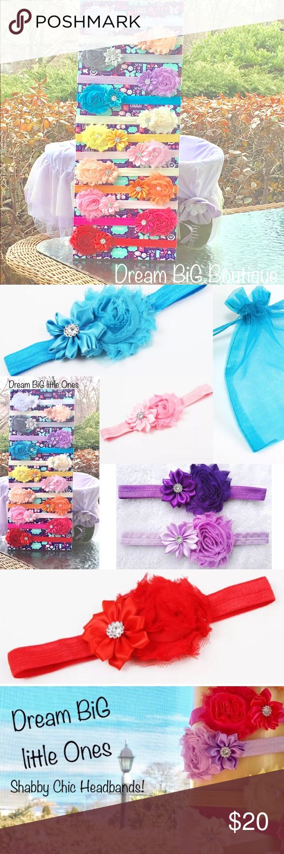 4 infant Girl baby boutique headband gift set pink Welcome to Dream BiG little Ones Boutique 19 Atlantic Rd, Gloucester, Massachusetts 4 Shabby Chic Rosette Vintage Headbands, in a sheer gift bag! Color of Headband: your choice! Color of Gift Bag: Totally Turquoise  Features a soft, nylon band with two flowers & rhinestones on top New in boutique packaging!  Fits approximately newborn up to 15 months You can pick the 4 colors you would like! Handmade Accessories Hair Accessories