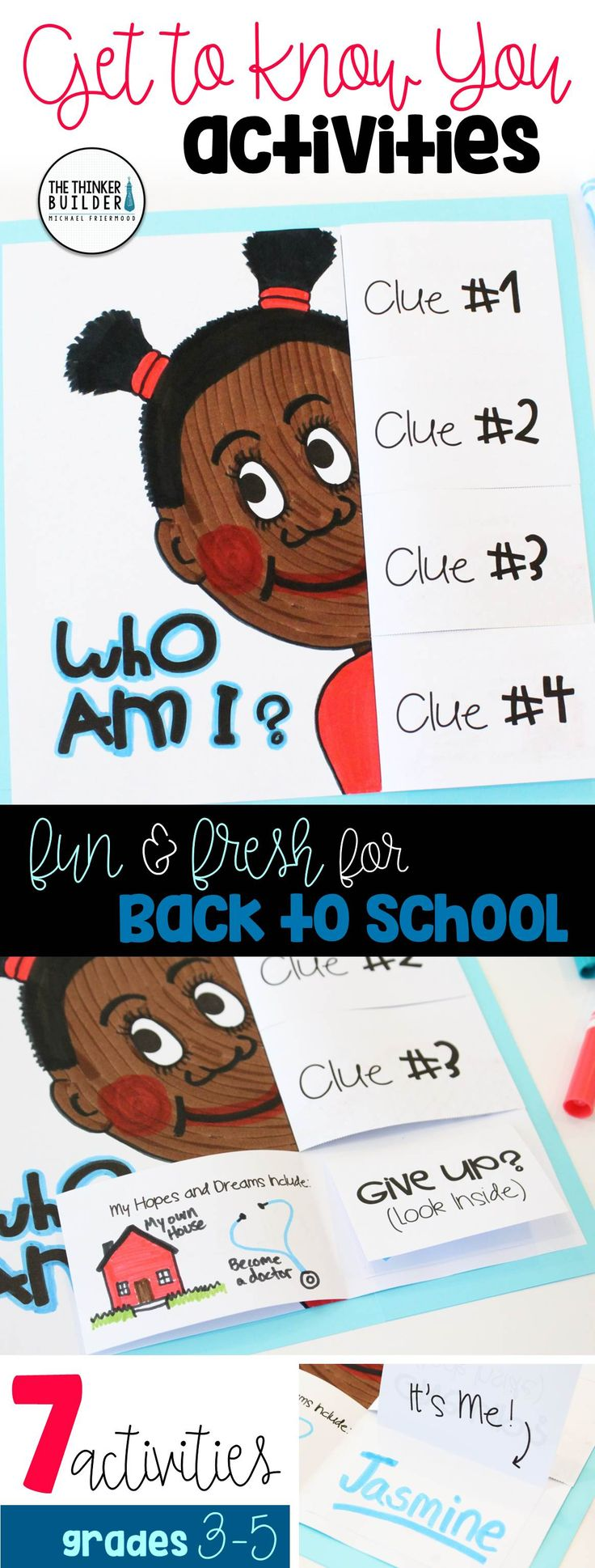 """Fun and fresh get-to-know-you activities for the beginning of the year, including a """"Who Am I?"""" poster with flip-open clues, """"A Maze of New Friends"""" activity, and more! 7 total activities, perfect for back-to-school! Gr. 3-5 ($). Click the image for details, or see the bundle of BOTH my Get-to-Know-You Activity Packs here: https://www.teacherspayteachers.com/Product/Back-to-School-Activities-Get-To-Know-You-BUNDLE-2-Packs-1984515"""