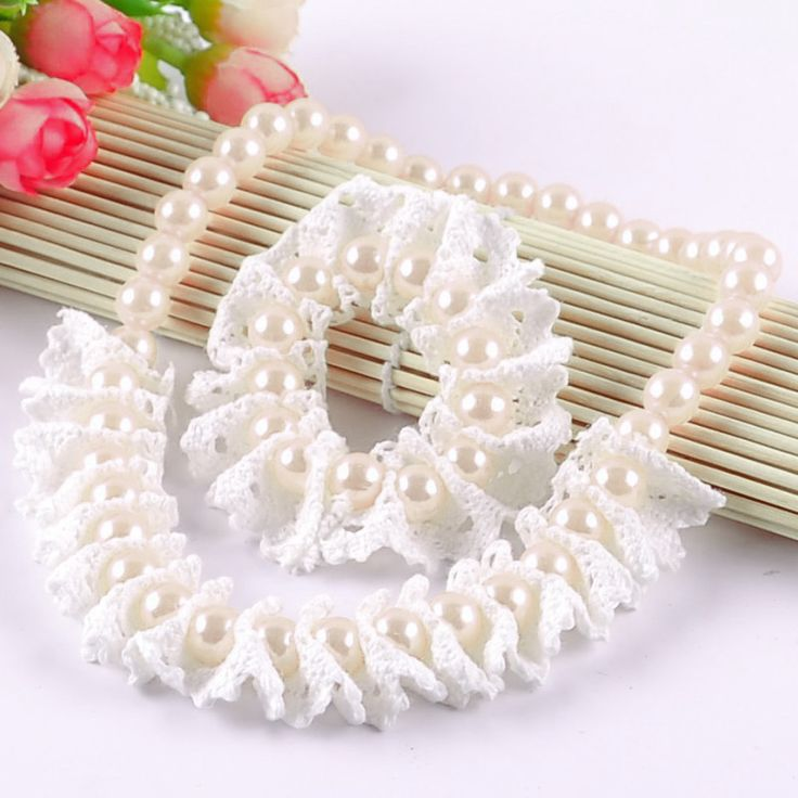 Shop online in India the gorgeous infant necklace and bracelet set in beautiful white pearls and complementing lace.
