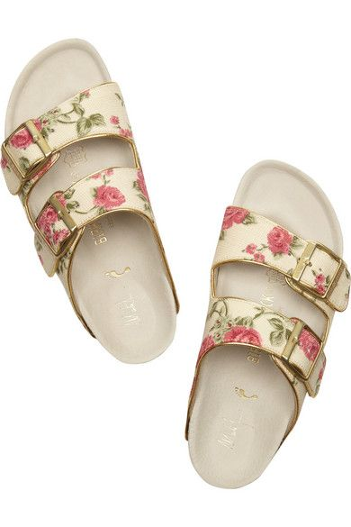 $245 Birkenstock Arizona floral-print canvas slides http://www.net-a-porter.com/product/433374/Birkenstock/arizona-floral-print-canvas-slides