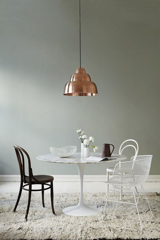 minty breeze matte paint by jotun, the marble tulip table, that pendant, mismatched chairs