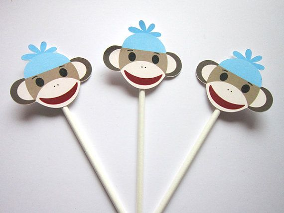Sock Monkey Cupcake Toppers Sock Monkey Baby Shower by CraftyCue