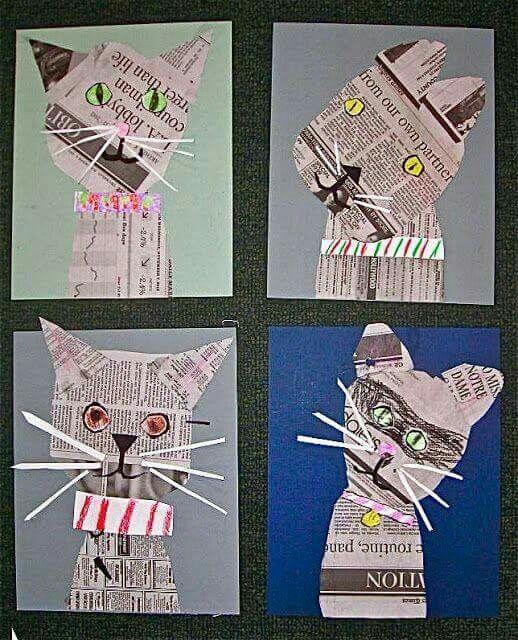 Katten van krantenpapier knutselen