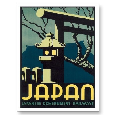 Vintage Railways Japan Travel Poster Art Postcard.  Retro Travel Poster Art available as prints, greeting cards, postcards, mugs, fridge magnets, tote bags, t-shirts and many other cool items.
