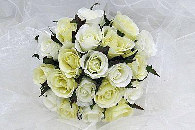 Artificial English Rose Bouquet - Cream