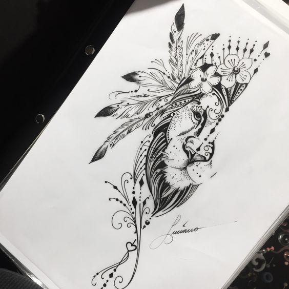 Tatuagens de Leões Femininos – Mais de 120 Modelos – Tatuagens Ideias