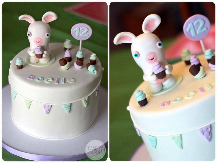 * A Rabbids Invasion cake made for my niece. Still kept it soft and girly, but fun!