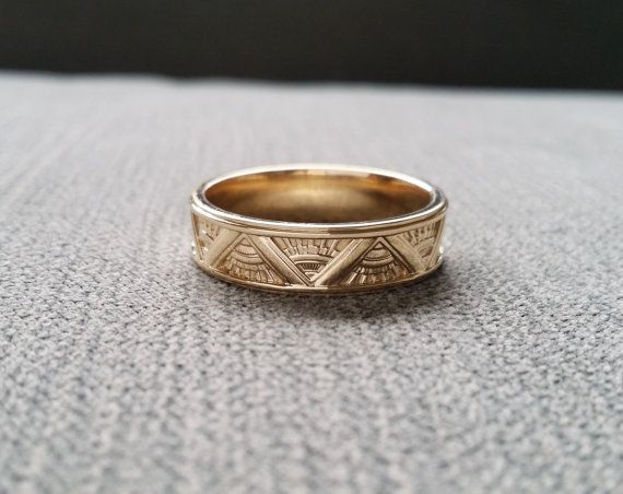Fancy Art Deco Mens Wedding Band Ring Pattern Antique Unique Egyptian Geometric Gold The Emmerson by PenelliBelle on Etsy