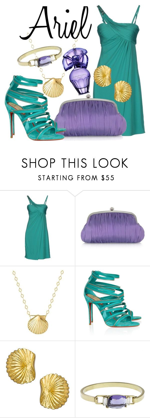 """""""Ariel"""" by dreaming-disney ❤ liked on Polyvore featuring GUESS by Marciano, Julia Cocco', Reeds Jewelers, Christian Louboutin, Boyer New York, Gerard Yosca, BCBGMAXAZRIA, purple, disney and princess"""