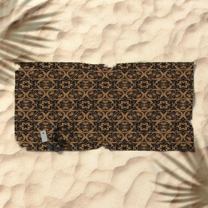 Black and bronze oils 2675 beach towel by Khoncepts