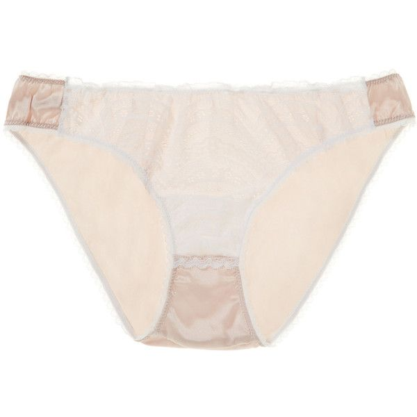 Mimi Holliday Women's Sweet Pea Classic Silk Knicker - White - Size L ($30) ❤ liked on Polyvore featuring intimates, panties, white, mimi holliday by damaris, silk knickers and white knickers