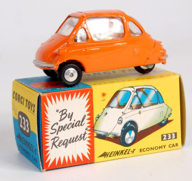 Lot 1745 - Corgi Toys, 233 Heinkel Economy car, orange body with lemon interior, spun hubs, in the original