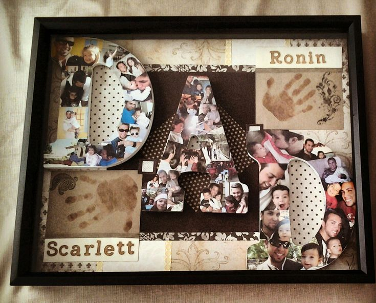"""Happy Father's Day 2013 gift for my husband. I bought wooden letters to paste pictures of him and our children. The first """"D"""" has pictures of him and our daughter. The """"A"""" has pictures of all three of them. And the other """"D"""" has pictures of him and my son. I used different scrapbook paper for the background. I stamped their hands instead of using paint because it was easier and you can see it better. I glued everything together and put it in a shadow box. I hope my husband loves it!"""