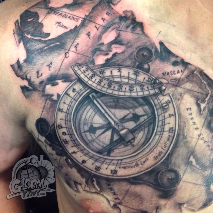 Travel for tattoos that illuminate traveling.  Sundial compass and map of the Bahamas  Done by: Mason Coriell Facebook.com/globalsins
